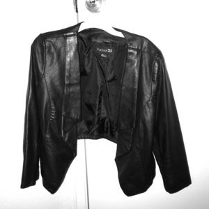F21 Cropped Faux Leather Jacket